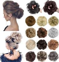 XBwig Messy Bun Hair Piece Extensions Wavy Curly Donut Scrunchie Chignons Synthetic Updo Wig Hairpiece for Women Black&Dark Auburn