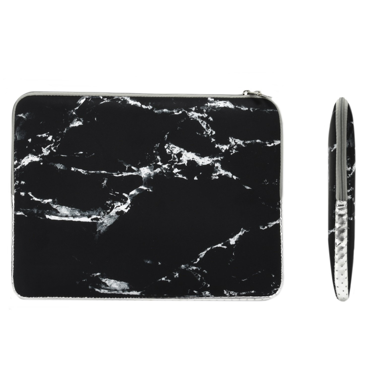 """TOP CASE - Marble Pattern Zipper Sleeve Bag Case Compatible with All Laptop 11"""" 11-inch MacBook Air/Ultrabook/Chromebook Mouse Pad - Black"""