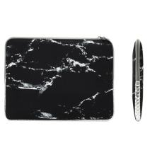 """TOP CASE - Marble Pattern Zipper Sleeve Bag Case Compatible with All Laptop 13"""" 13-inch MacBook Pro with or Without Retina Display/MacBook Air/MacBook Unibody/Ultrabook/Chromebook - Black"""