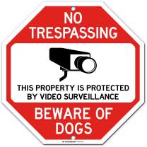 "Dog Warning No Trespassing Video Surveillance Sign, Octagon Shaped, Made Out of .040 Rust-Free Aluminum, Indoor/Outdoor Use, UV Protected and Fade-Resistant, 11"" x 11"", by My Sign Center"