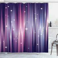 """Ambesonne Eggplant Shower Curtain, Abstract Colourful Beams Backdrop with White Stars Space Inspired Purple Lines, Cloth Fabric Bathroom Decor Set with Hooks, 75"""" Long, Purple Blush"""
