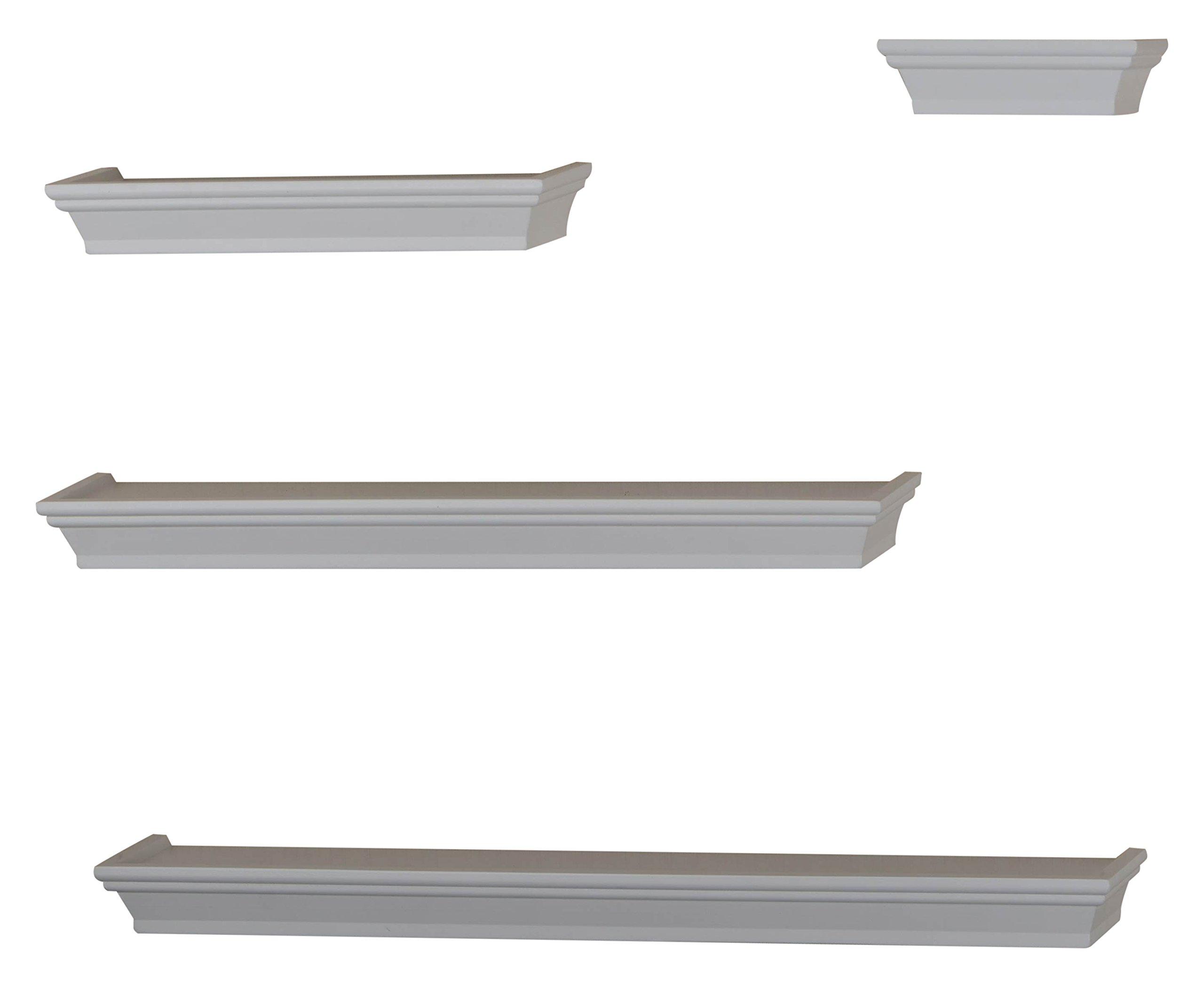 V-Light Set of 4 Traditional Wood Wall, White Finish, (VS141003W) Decorative Shelving
