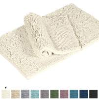 "Shag Chenille Bath Rugs Non Slip Thick Shaggy Chenille Bathroom Rugs, Bath Mats for Bathroom Extra Soft and Absorbent - Bath Rugs Set for Indoor/Kitchen (Set of 2-20"" x 32""/17"" x 24"") Cream"