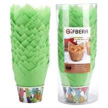 Gifbera Green Tulip Cupcake Liners Swedish Paper Baking Cups Medium, 100-Count