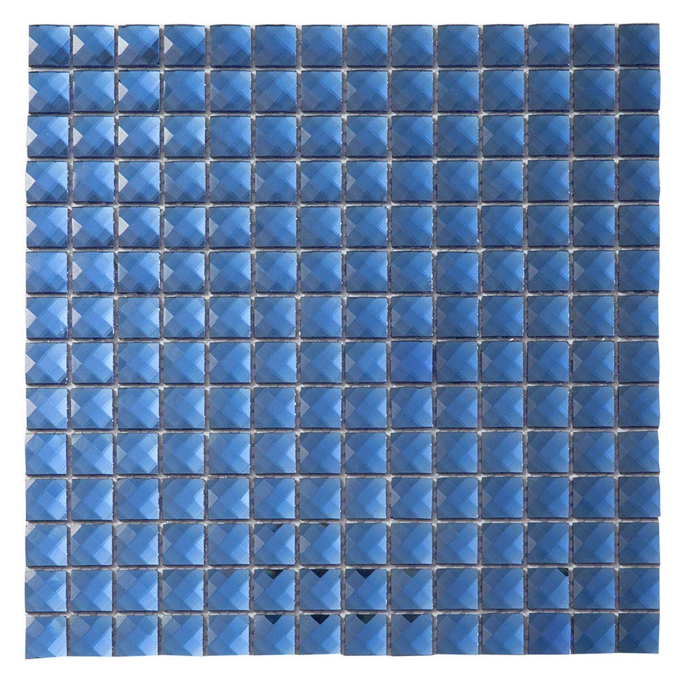Diflart Mirror Glass Mosaic Tile Blue Crystal Diamond Mosaic Tile 3/4 inch for Kitchen Backsplash Bathroom Pool KTV Bar Wall Pack of 5 (Blue)