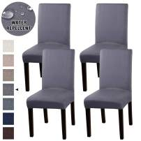 Turquoize Suede Stretch Dining Chair Covers Set of 4 Chair Covers for Dining Room Parson Chair Slipcovers Chair Protector Feature Water Repellent Soft and Machine Washed (Gray, 4)