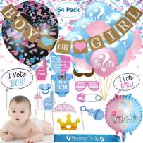 Gender Reveal Party Supplies Baby Shower Decorations kit Boy or Girl Reveal Balloons Banner Confetti Balloons Photo Booth Props For Party (64pcs)