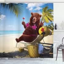 "Ambesonne Animal Shower Curtain, Funny Happy Wild Hot Bear with Bikini Top on The Beach Sunbathing Work of Art, Cloth Fabric Bathroom Decor Set with Hooks, 84"" Long Extra, Brown Purple"