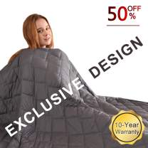 """FAHUA Original Weighted Blanket 20 lbs 60""""x80"""" Queen Size Adult Breathable Cotton Heavy Blanket with Glass Beads (Grey)"""