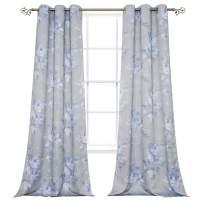 BUHUA Printed Floral Slub Looked Room Darkening Window Curtain Panels, 38Wx72L, 2 Panels, Grey and Blue