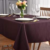 maxmill Jacquard Tablecloth Swirl Design Spillproof Wrinkle Free Oil Resistant Heavy Weight Soft Table Cloth Decorative Fabric Table Cover for Outdoor and Indoor Use Oblong 60 x 120 Inch Burgundy