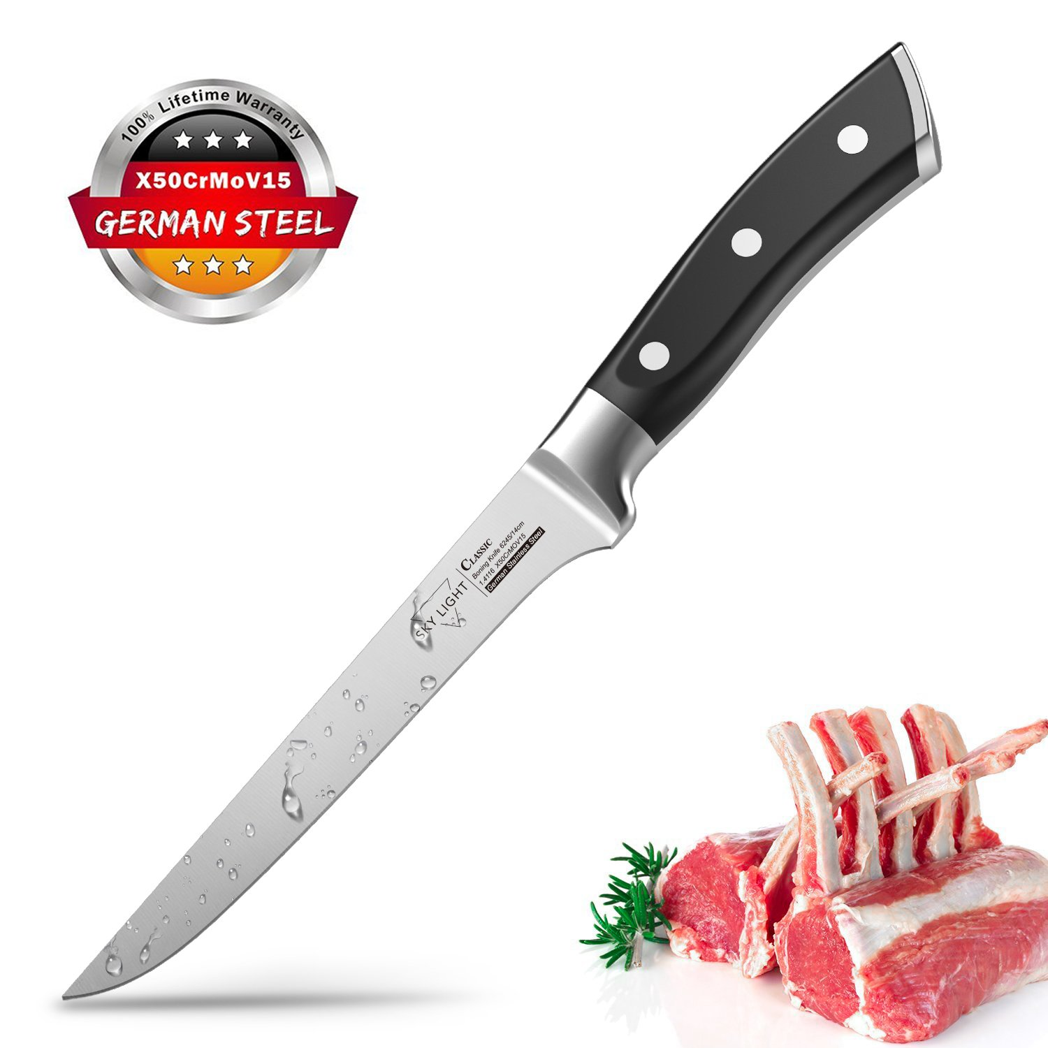 Boning Knife, SKY LIGHT Flexible Fillet Knives 6 inch for Meat Fish Poultry Chicken Professional Kitchen Knife High Carbon German Stainless Steel Chef Bone Knife