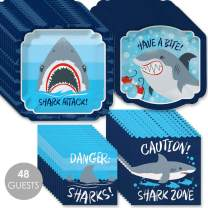 Big Dot of Happiness Shark Zone - Jawsome Shark Viewing Week Party or Birthday Party Tableware Plates and Napkins - Bundle for 48