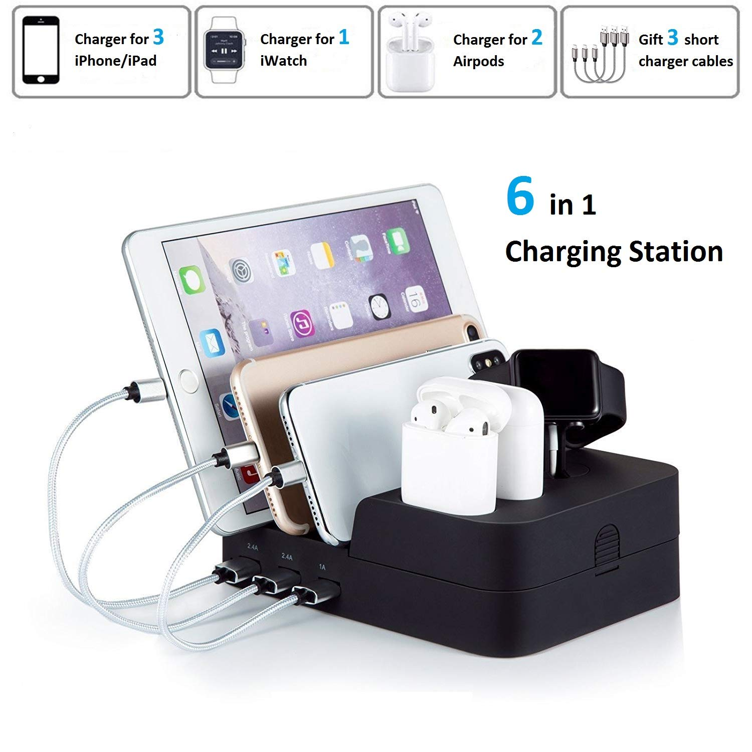 KeyEntre 6 Port USB Charging Station Multi Device USB Charging Dock Station HUB Desktop Charger Stand Organizer Compatible for iPhone ipad Airpods iwatch Kindle Tablet Multiple Devices, Black