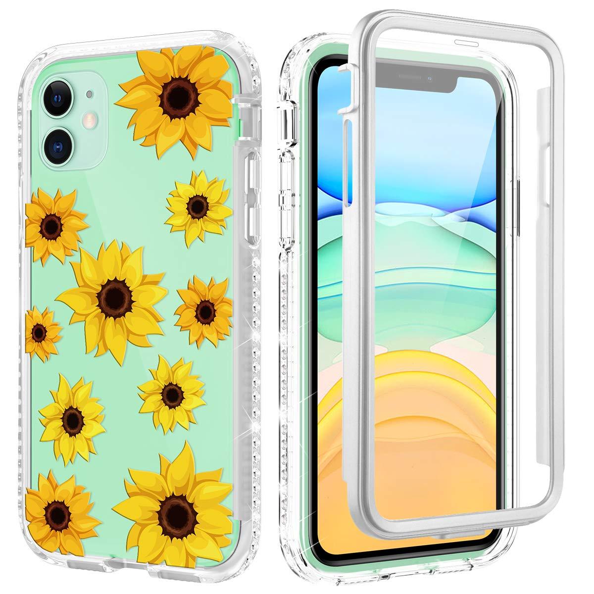 Caka Flower Case for iPhone 11 Glitter Case Women Girls Girly Full Body Shockproof Glitter Diamond Bling Shining Yellow Floral Heavy Duty Clear Phone Case for iPhone 11 (2019) (Sunflower)