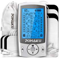 Dual Channel TENS Unit Muscle Stimulator for Pain Relief Therapy, POHAKU 20 Modes Rechargeable Electric Pulse TENS Machine with 8 TENS Electrode Pads