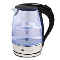 Maxi-Matic Glass Electric Tea Hot Water Heater Boiler Blue LED Kettle with BPA Free Stainless Steel Interior and Auto Shut-Off, 1.7L