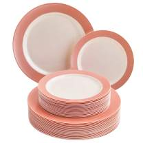 DISPOSABLE 240 PC DINNERWARE SET | 120 Dinner Plates | 120 Salad Plates | Heavy Duty Plastic Dishes | Elegant Fine China Look | Pastel Collection (Blush)