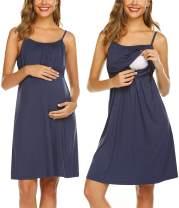 Ekouaer Women's Nursing Nightgown Maternity Dress Breastfeeding Hospital Gown Full Slips Sleepwear