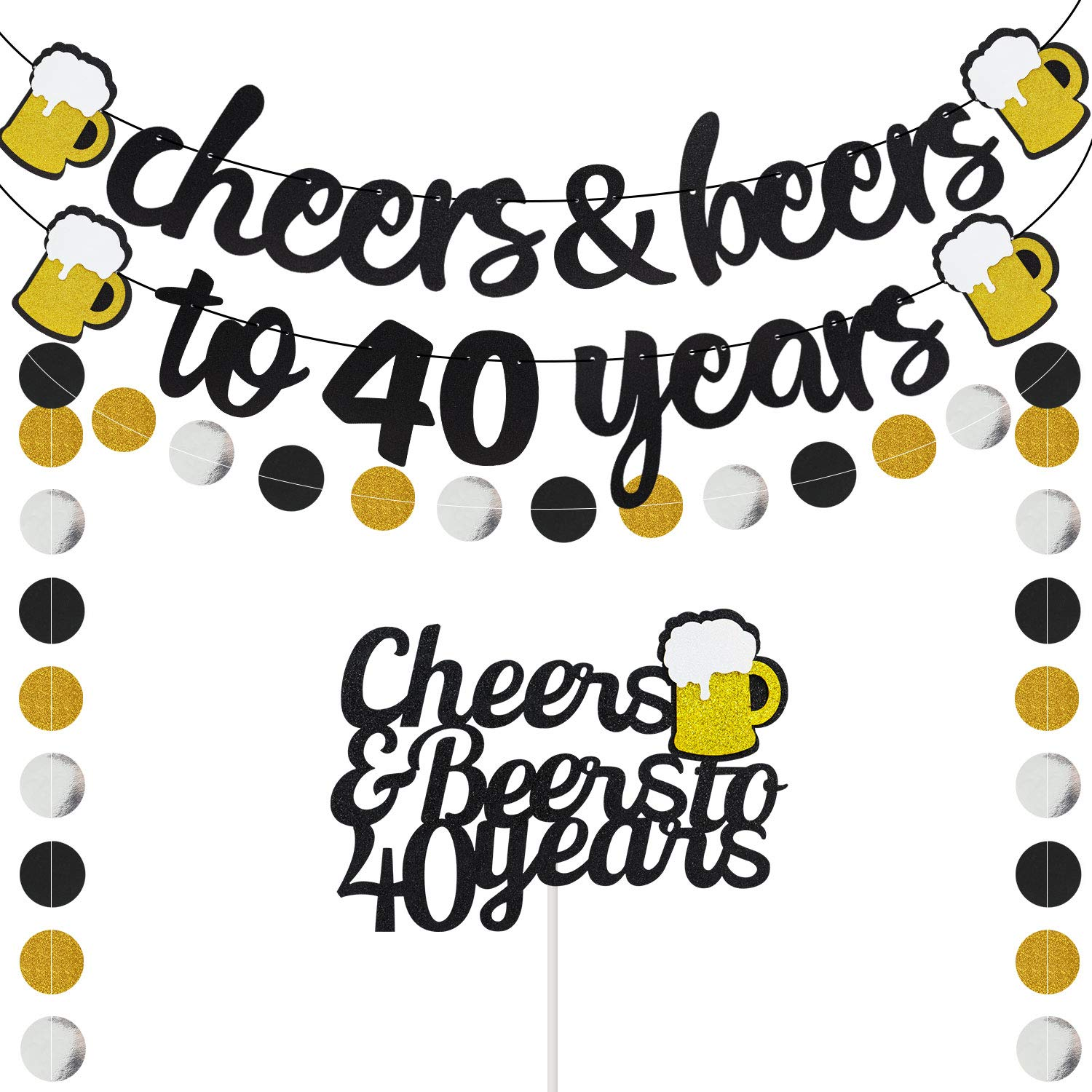 40 Years Anniversary Decorations - Cheers & Beers to 40 Years Banner with 40th Years Old Cake Topper Black Glittery Circle Dots Garland for 40th Birthday Wedding Party Supplies Decorations - PRESTRUNG