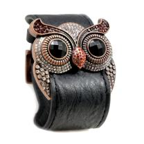 Accents Kingdom Crystal Owl Leather Cuff Bracelet