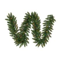 Vickerman Pre-Lit Camdon Fir Garland with 50 Multicolored Frosted Italian LED Lights, 9-Feet, Green