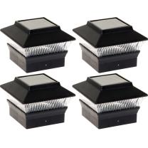 GreenLighting 4 Pack Solar Power Square Outdoor Post Cap Lights for 4x4 PVC Posts (Black)