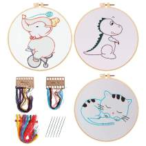 Embroidery Starter Kit for Beginners Kids Adults 3 Sets Cross Stitch Kits Beginners with Animal Pattern Craft Dinosaur cat Elephant Include Embroidery Cloth, Hoop, Threads