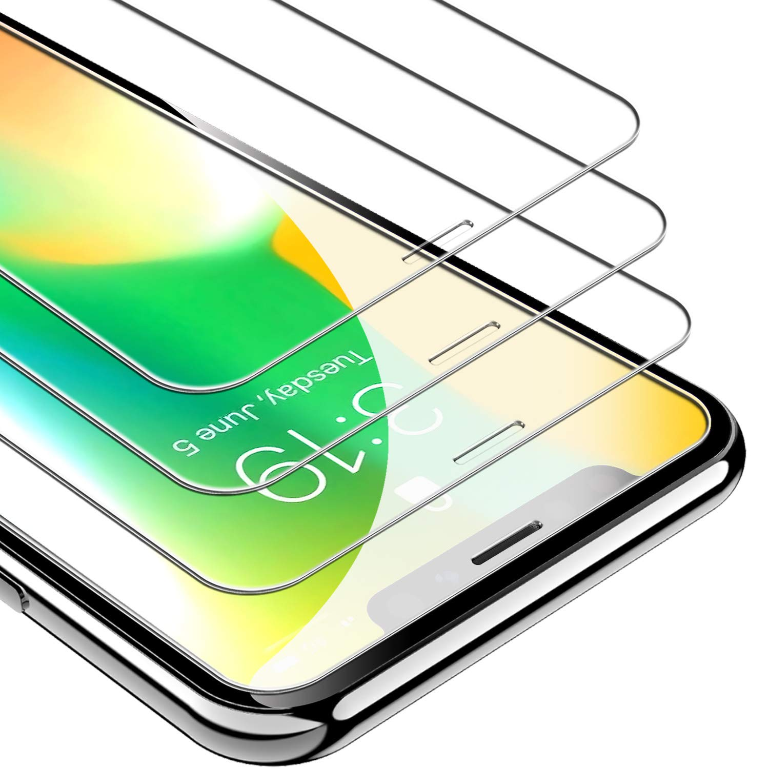 UNBREAKcable Screen Protector for iPhone X/XS/ 11 Pro 3-Pack 5.8 Inch, 9H Hardness Tempered Glass for iPhone 11 Pro/XS/X, Case Friendly, Anti-Bubbles, Free Installation Frame, Anti-Scratch