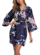 UrHot Women's Short Floral Kimono Robe Peacock and Blossom Bathrobe for Wedding Party