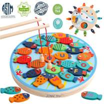 JCREN 30 PCS Wooden Magnetic Fishing Game Toy for Toddlers - Magnetic Alphabet Letters Fish Catching Counting Montessori Educational Games Fine Motor Skill Toys for 3 4 5 Year Old Girls Boys Kids
