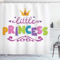 "Ambesonne Feminine Shower Curtain, Little Princess Lettering on Polka Dot Background Cheerful Illustration, Cloth Fabric Bathroom Decor Set with Hooks, 70"" Long, Fuchsia Green"