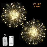 LED Firework Lights - 2 Pack Copper String Lights Battery Operated Hanging Starburst Light, 150 LED Fairy Lights with Remote 8 Modes Christmas Decorative Hanging Lights for Party Patio, Warm White
