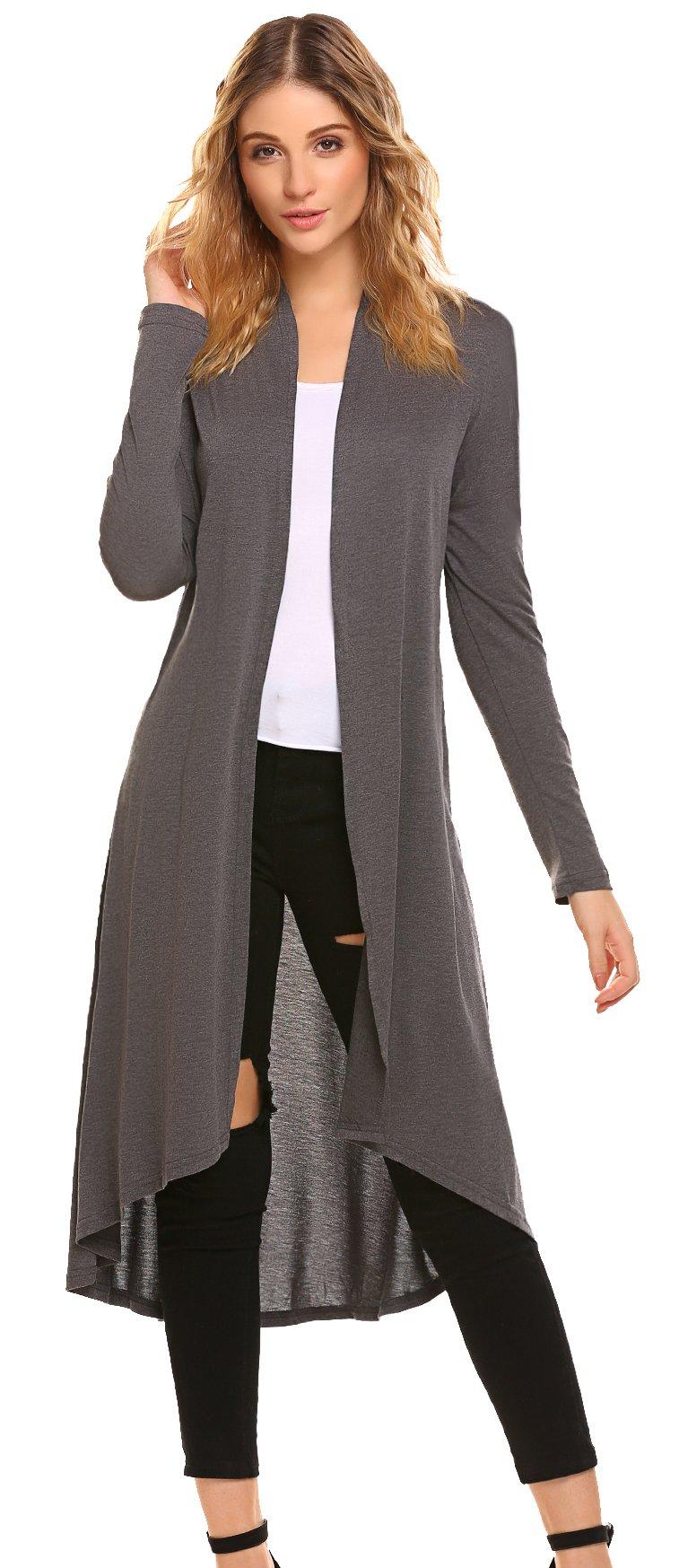 S-3XL Womens Casual Long Open Front Drape Lightweight Duster High Low Hem Maxi Long Sleeve Cardigan