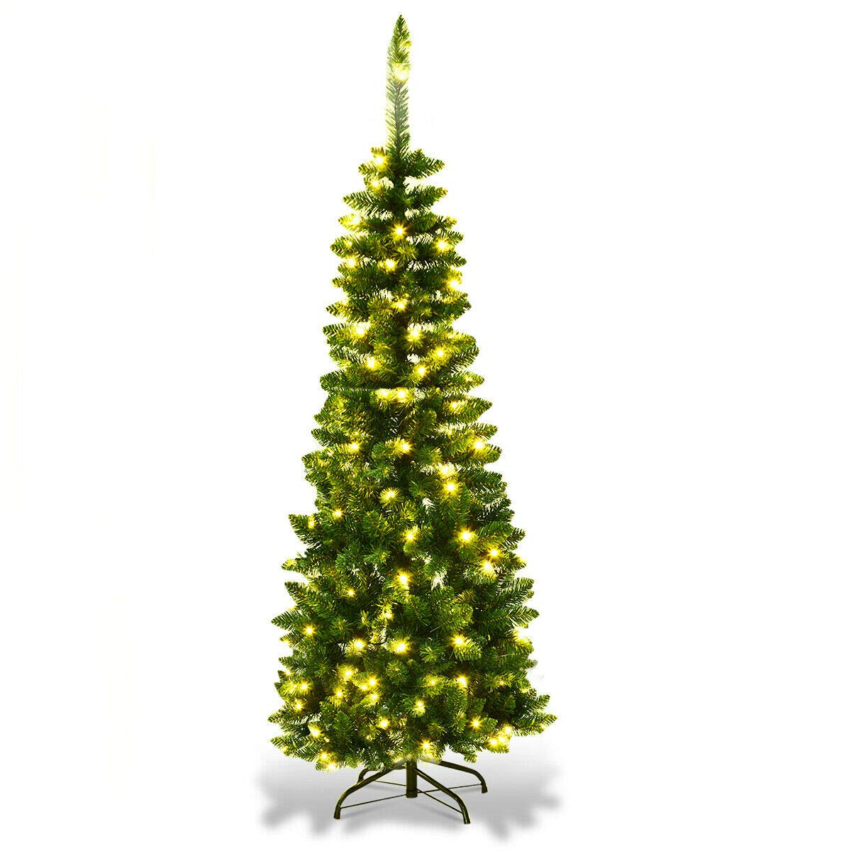 Goplus 4.5ft Prelit Pencil Christmas Tree, Premium Hinged Fir Tree, with LED Lights and Solid Metal Stand, Easy Assemble, Ideal Artificial Xmas Tree for Home and Office, Warm White LED