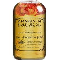 Amaranth Multi-Use Oil for Face, Body and Hair - Organic Blend of Apricot, Vitamin E and Sweet Almond Oil Moisturizer for Dry Skin, Scalp and Nails - Grapefruit, Red Currant and Jasmine - 4 Fl Oz