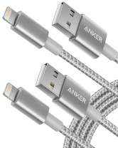 Anker 6ft Premium Nylon Lightning Cable [2-Pack], Apple MFi Certified for iPhone Chargers, iPhone Xs/XS Max/XR/X / 8/8 Plus / 7/7 Plus / 6/6 Plus / 5s, iPad Pro Air 2, and More(Silver)