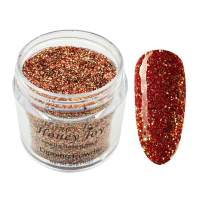 28g/Box Sparkle Colorful Holographic Glitter, Red Golden, Dip Powder Nails Dipping Nails Long-lasting Nails No UV Light Needed (HJ-ND064B-No.148)