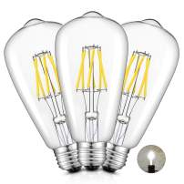 CRLight 6W 5000K LED Edison Bulb Daylight White, 700LM 70W Incandescent Equivalent, Replace 12W Compact Fluorescent CFL Bulbs, E26 Base ST64 Antique Clear Glass Dimmable LED Filament Bulbs, Pack of 3