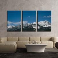 """wall26 - 3 Piece Canvas Wall Art - Blue Sky Over Mountain Peak with Snow Covered - Modern Home Art Stretched and Framed Ready to Hang - 24""""x36""""x3 Panels"""