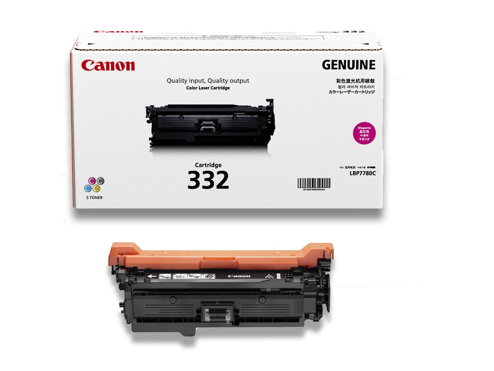 Canon Genuine Toner, Cartridge 332 Magenta (6261B012), 1 Pack, for Canon Color imageCLASS LBP7780Cdn Laser Printer