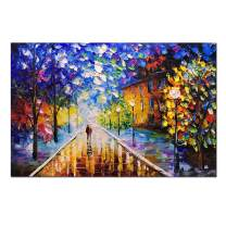 V-inspire Art, 24x36 Inch Romantic Night Contemporary Abstract Oil Painting 100% Hand-Painted Modern Living Room Bedroom Decoration Canvas Wall Art Ready to Hang Wall Decoration