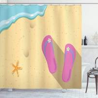 """Ambesonne Flip Flop Shower Curtain, Pinky Beach Thong and Starfish on Grainy Looking Sands by The Waves, Cloth Fabric Bathroom Decor Set with Hooks, 70"""" Long, Seafoam Pink"""