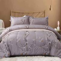 NANKO Queen Comforter Set 3pc 88 x 90 inch, Gray Pastel Floral Print Soft Microfiber Bedding - All Season Quilted Comforter with 2 Pillowshams - Farmhouse Bed Set for Women Men