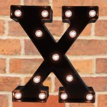 Pooqla Decorative LED Illuminated Letter Marquee Sign - Alphabet Marquee Letters with Lights for Wedding Birthday Party Christmas Night Light Lamp Home Bar Decoration X, Black