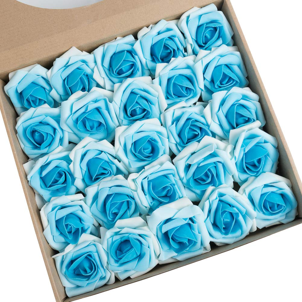 N&T NIETING Artificial Flowers Roses, 25pcs Real Touch Artificial Foam Roses with Steams for Baby Shower, Cake Decoration DIY, Wedding Bridal Bouquets Centerpieces, Party Decoration, Mother's Day