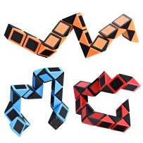 Ganowo Fidget Snake Cube Twist Puzzle Toys - Easter Basket Stuffers - Party Favors Goody Bags Fillers, Set of 3