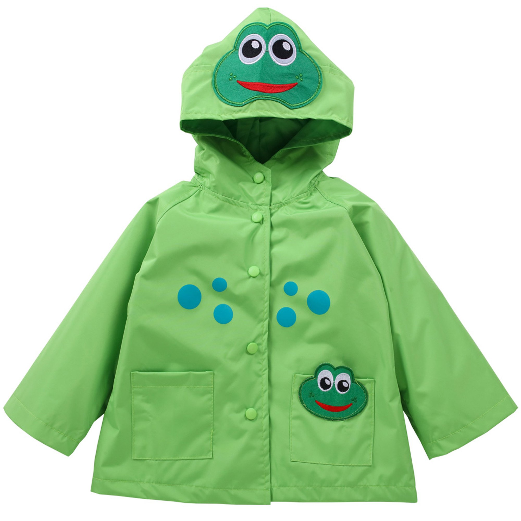 Waterproof Rainwear Windbreaker Hooded Raincoat Dirty Proof Cute Long Sleeve Outwear Jacket for Boys and Girls