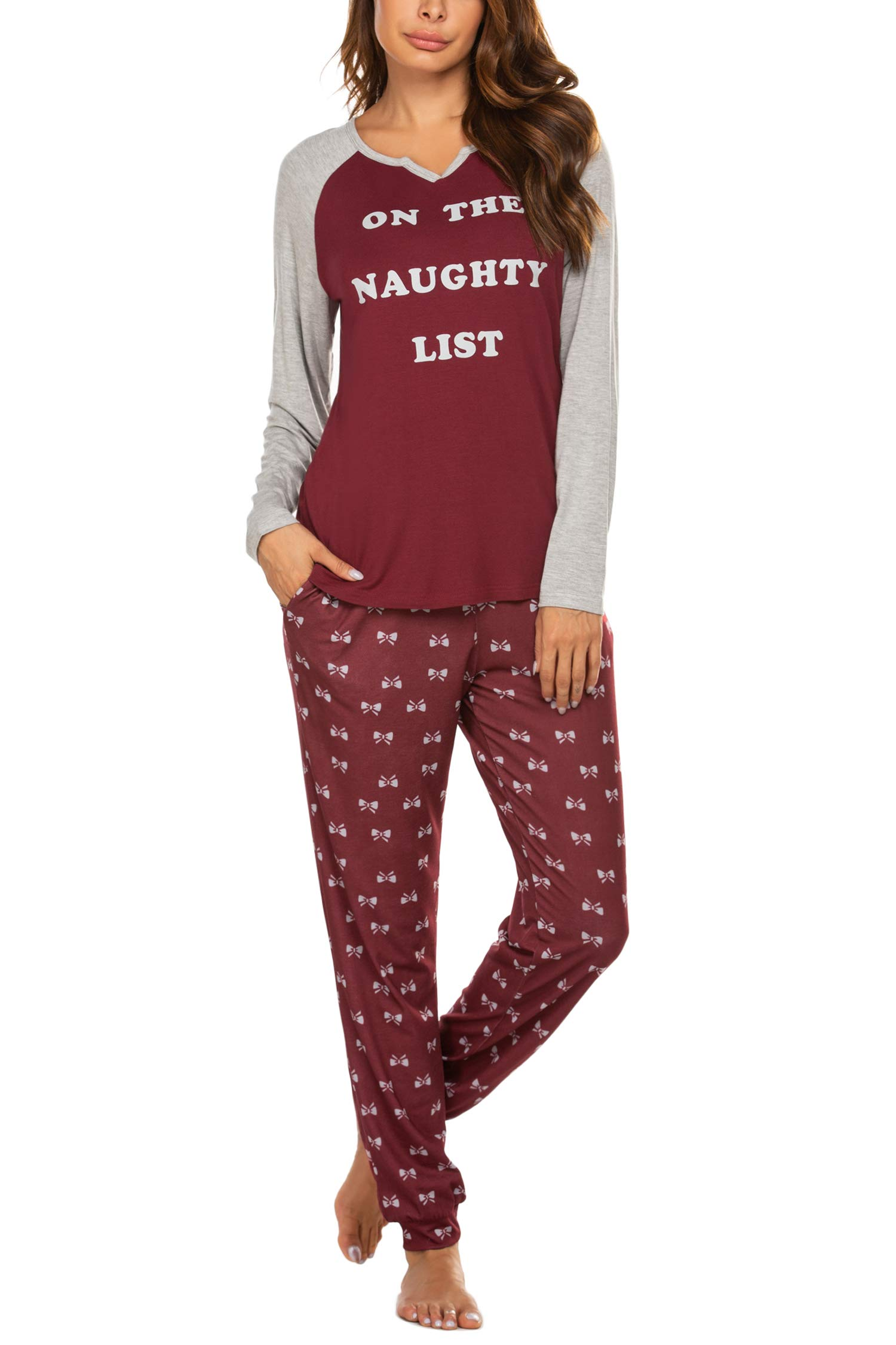 Ekouaer Women's Pajamas Set Long Sleeve Raglan Shirt and Pants Pj Lounge Set Print Sleepwear