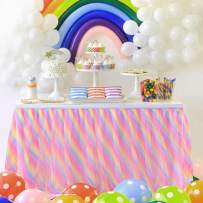 Rainbow Tulle Table Skirt Tutu Tablecloth 14ft Ruffle Table Skirting for rectangle tables Unicorn Birthday Party Baby Shower Unicorn Party Supplies